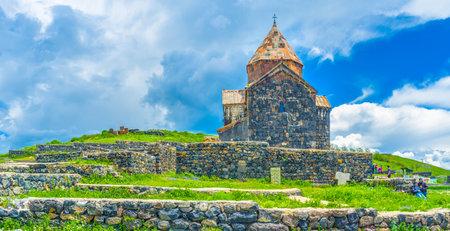 SEVAN, ARMENIA - MAY 31, 2016: The medieval Sevanavank Monastery located on the Sevan Peninsula and washed by waters of Sevan Lake, on May 31 in Sevan