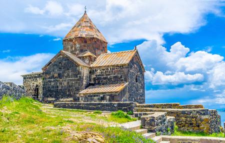The Sevan Peninsula boasts medieval preserved stone Sevanavank Monastery, Armenia. Stock Photo