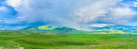 The rainy clouds in highland change their direction and location very fast, Syunik Province, Armenia.
