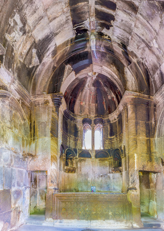 gosh: GOSH, ARMENIA - MAY 31, 2016: The interior of Grigor Luysavorich Church in Goshavank Monastery, decorated with preserved carvings, on May 31 in Gosh.