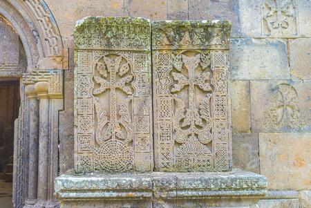 gosh: The amazing carved patterns on the medieval khachkars, created by 13th century carver Pavgos in Goshavank Monastery, Gosh, Armenia.