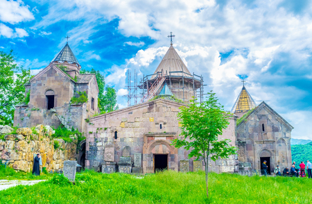 GOSH, ARMENIA - MAY 31, 2016: The Goshavank Monastery Complex, named after the medieval statesman Mkhitar Gosh, who took part in monastery rebuilding after the earthquake, on May 31 in Gosh. Editorial