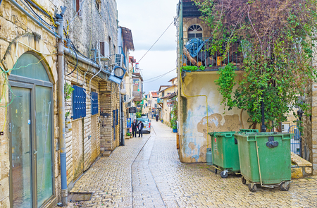 SAFED, ISRAEL - FEBRUARY 22, 2016: The narrow stone street of the oldtown, located in highlands of Galilee, on February 22 in Safed. Editorial