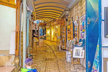 best place: SAFED, ISRAEL - FEBRUARY 22, 2016: The souvenir stalls in Gallery Street is the best place to choose the presents from Safed, on February 22 in Safed.