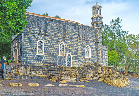primacy: The Church of the Primacy of St Peter located adjacent to the pebble beach at the Sea of Galilee, Tabgha, Isael.
