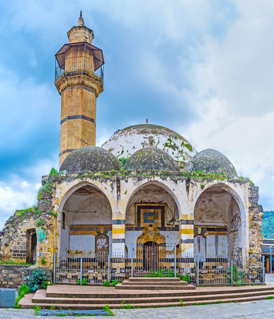The dilapidated Great Al-Omari Mosque was built by Daher el-Omar in the Middle Ages, Tiberias, Israel. Stock Photo