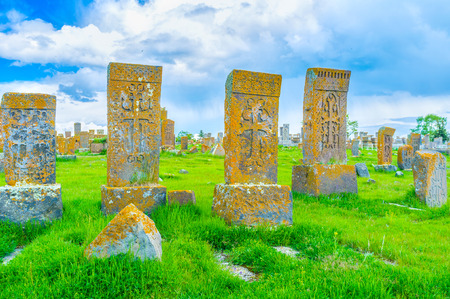 The Noratus Cemetery is the large medieval complex with numerous preserved khachkars, Gegharkunik Province, Armenia. Stock Photo