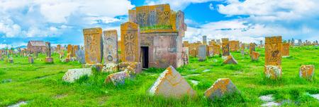 boasting: The large area of Noratus Cemetery, covered with stone khachkars, boasting amazing carved patterns, Gegharkunik Province, Armenia.