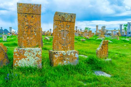 notable: The Noratus Cemetery is one of the notable landmarks, located around Sevan Lake, Gegharkunik Province, Armenia.