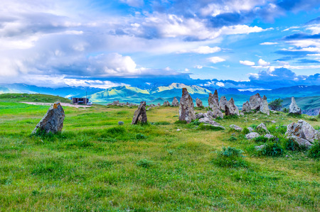 archaeological site: The prehistoric archaeological site  of Zorats Karer, located among the highlands, is the best place to enjoy the nature, monuments and legends, Syunik Province, Armenia. Stock Photo
