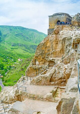 Visiting of Vardzia monastic site is the nice opportunity to walk among the old caves on the rocky Erusheti mountain slope, discover medieval church and enjoy the views, Samtskhe-Javakheti Region, Georgia.