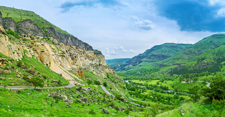 archaeological site: The medieval carved caves of Vardzia archaeological site, located on Erusheti mounain slope, with the valley of Kura river at its foot, Samtskhe-Javakheti Region, Georgia.