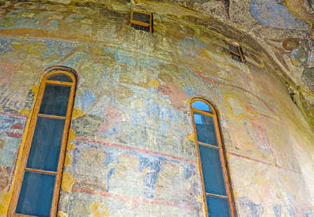 place of interest: VARDZIA, GEORGIA - MAY 27, 2016: The Dormition Church in famous Monastic Complex is the place of pilgrimage and tourist interest, on May 27 in Vardzia. Editorial