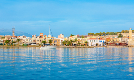 The best way to discover Rethymno and coastal villages of Crete is to take a yacht and enjoy the picturesque trip, Greece. Editorial