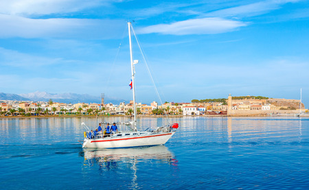 RETHYMNO, GREECE - OCTOBER 16, 2013: The  sailing yacht crew is ready for adventures, going to the trip, on October 16 in Rethymno.