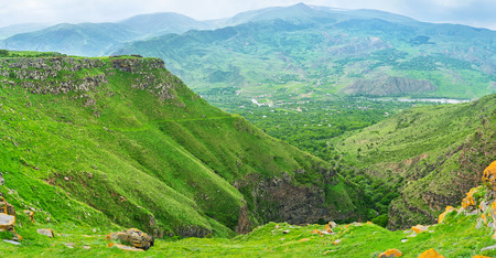 occupied: The amazing mountain landscape from the plateau, occupied by Saro village, Georgia.