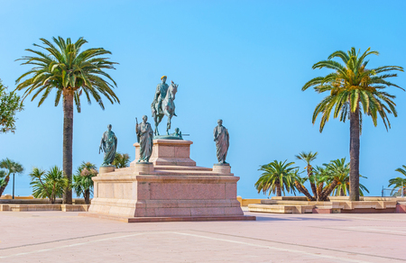 The equestrian statue of Napoleon, surrounded by his four brothers in Roman garb, located in Place de Gaulle, Ajaccio, Corsica, France. Editorial