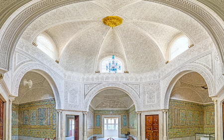 TUNIS, TUNISIA - SEPTEMBER 2, 2015: The Virgil Room of  Bardo National Museum is the former harem of Hafsid Palace, decorated with patterns of glazed tiles and carved ganch, on September 2 in Tunis. Editorial