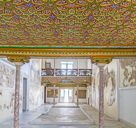 september 2: TUNIS, TUNISIA - SEPTEMBER 2, 2015: The colorful decor of the ceiling in Althiburos Room of Bardo National Museum, on September 2 in Tunis.