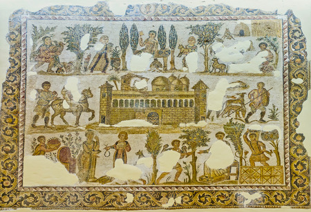 september 2: TUNIS, TUNISIA - SEPTEMBER 2, 2015: The mosaic depicts the life in ancient city, Sousse Room of Bardo National Museum, on September 2 in Tunis.
