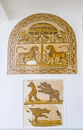 ancient lion: TUNIS, TUNISIA - SEPTEMBER 2, 2015: The mosaics in Bardo National Museum with the fighting lions and bears, on September 2 in Tunis.