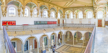 TUNIS, TUNISIA - SEPTEMBER 2, 2015: Panorama of the upper gallery of the Carthage Room of Bardo National Museum, on September 2 in Tunis.