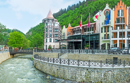 water sources: BORJOMI, GEORGIA - MAY 26, 2016: One of the best complex in resort, located next to the mineral water sources, on the bank of Borjomula river, on May 26 in Borjomi. Editorial