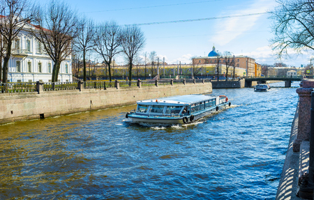 leningrad: The pleasure boats are the famous tourist attraction in city, Krukov Canal, St Petersburg, Russia. Editorial