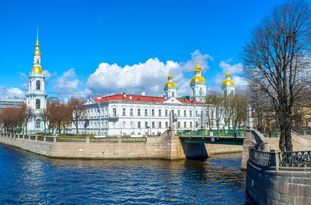 The tourist area, famous as the Semimostye is the point, overlooking all seven bridges over Krukov and Griboedov Canals next to the St Nicholas Naval Cathedral in St Petersburg, Russia.