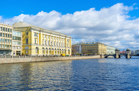 The Fontanka River boasts ones of the most beautiful bridges in city - Anichkov and Lomonosov, St Petersburg, Russia.