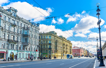 SAINT PETERSBURG, RUSSIA - APRIL 25, 2015: The Nevsky Prospect is the central city street, planned by Peter the Great, here located a lot of architectural landmarks, on April 25 in Saint Petersburg.