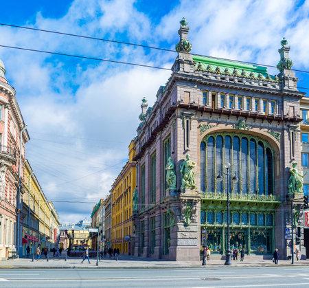 nikolay: SAINT PETERSBURG, RUSSIA - APRIL 25, 2015: The facade of Nikolay Akimov Comedy Theatre, former Eliseev merchants mansion, at Nevsky Prospect, on April 25 in Saint Petersburg.