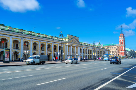 SAINT PETERSBURG, RUSSIA - APRIL 25, 2015: The Great Gostiny Dvor is the oldest in city vast department store and the first in Europe shopping arcades, on April 25 in Saint Petersburg.