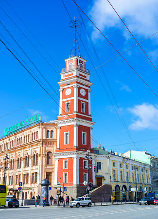 duma: SAINT PETERSBURG, RUSSIA - APRIL 25, 2015: The tower of City Duma, the historical city hall, located on Nevsky Prospect, on April 25 in Saint Petersburg.