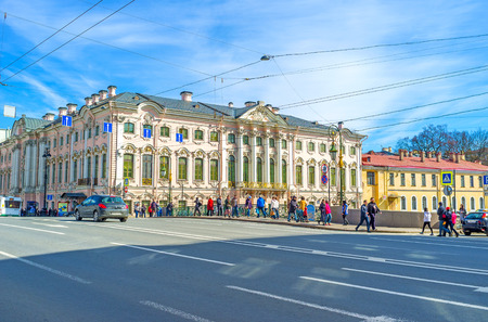 palacio ruso: SAINT PETERSBURG, RUSSIA - APRIL 25, 2015: The Stroganov Palace is one of the oldest residences in city, located at the bank of Moyka river, in Nevsky Prospekt, here houses the State Russian Museum, on April 25 in Saint Petersburg. Editorial
