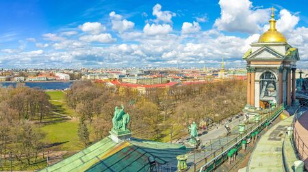 The view on Alexander Garden, Admiralty building and Neva embankment from the Colonnade of St Isaacs Cathedral, St Petersburg, Russia. Stock Photo