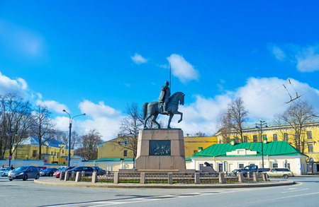 eponymous: SAINT PETERSBURG, RUSSIA - APRIL 25, 2015: The equestrian statue of Alexander Nevsky in the center of the eponymous square, adjacent to the Alexander Nevsky Monastery, on April 25 in Saint Petersburg.