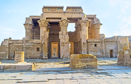 horus: The double entrance to the ancient Kom Ombo Temple, dedicated to Gods Sobek and Horus, Egypt.
