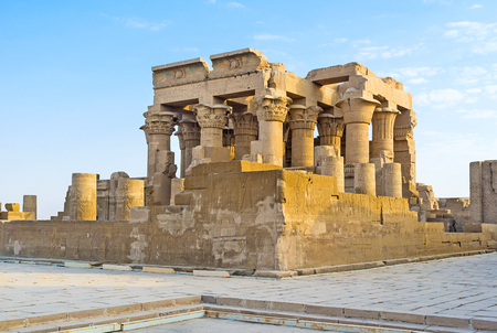 The unique Egyptian Temple of Kom Ombo boasts perfectly symmetrical plan, because it contains the sanctuaries and halls dedicated to two different gods - Sobek and Horus. Stock Photo
