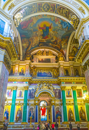 sobor: SAINT PETERSBURG, RUSSIA - APRIL 25, 2015: The St Isaacs Cathedral is one of the most famous landmarks in city with unique interior, full of masterpieces of art, on April 25 in Saint Petersburg.