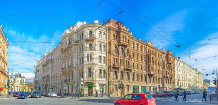 pestel: SAINT PETERSBURG, RUSSIA - APRIL 25, 2015: The intersection of Pestel street and Liteyny Avenue with monumental buildings and Transfiguration Cathedral on the background, on April 25 in Saint Petersburg.