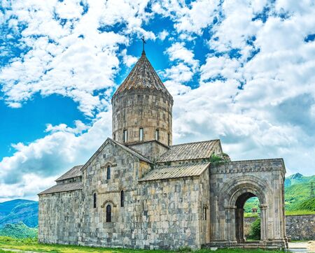 The medieval stone basilica is the largest building in fortified complex of Tatev Monastery, its dedicated to St Peter and Paul the Apostles, Tatev, Syunik Province, Armenia.