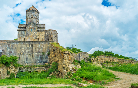 The remains of the medieval wall of the fortress next to the Astvatsatsin (Mother of God) Gate Church in Tatev Monastery, Syunik Province, Armenia.