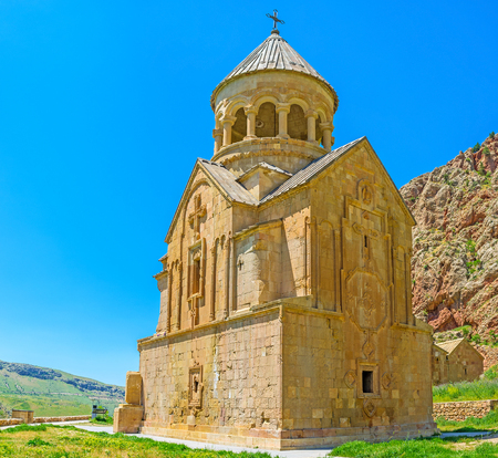 The medieval Surb Astvatsatsin (Mother of God) Church decorated with carved religious symbols and patterns, Noravank Monastery, Vayots Dzor, Armenia.