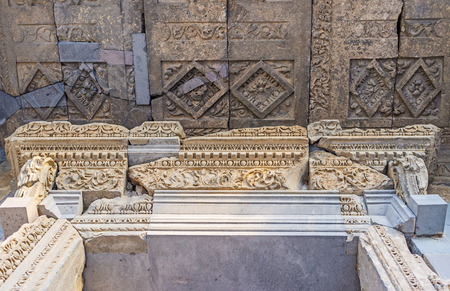 friezes: The stone friezes on door frame and ceiling pannels of Garni Temple are covered with fine patterns, Kotayk Province, Armenia. Editorial