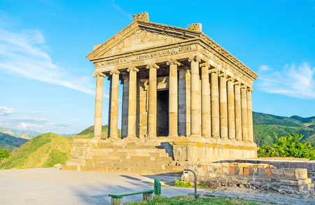 colonnaded: The colonnaded facade of Garni Temple with preserved decors on columns capitals, roof and friezes, Kotayk Province, Armenia.