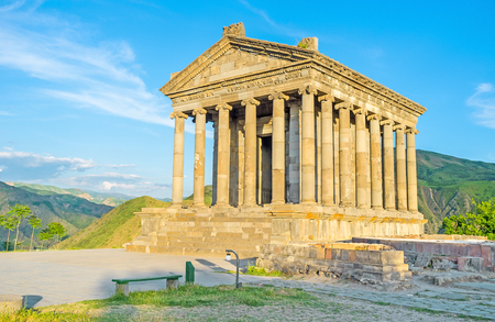 colonnaded: The Garni Temple is the only one existing example of the colonnaded ancient Greek architecture,  Kotayk Province, Armenia.