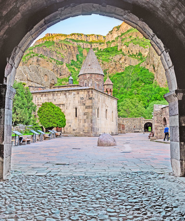 The arched entrance to the medieval monastic complex of Geghardavank (Geghard), famous for the ancient cave and named aftter the Holy Spear, Kotayk Province, Armenia. Editorial