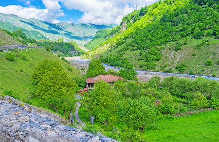 stratching: The agriculture lands in Aragvi River gorge, stratching along the Georgian Military Road, Georgia.
