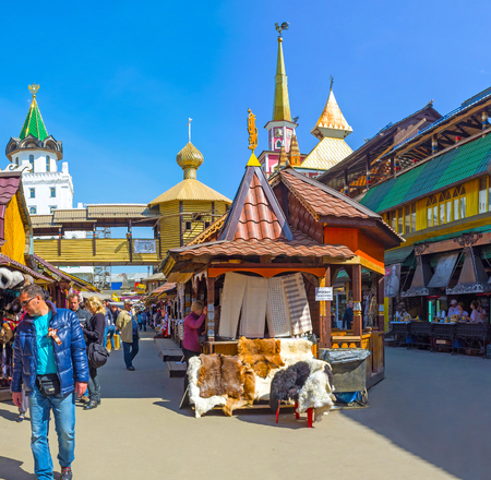 MOSCOW, RUSSIA - MAY 10, 2015: The Vernissage Market in Izmailovo is the best place to choose traditional souvenirs, enjoy arts and crafts, try national dishes and beverages, on May 10 in Moscow.